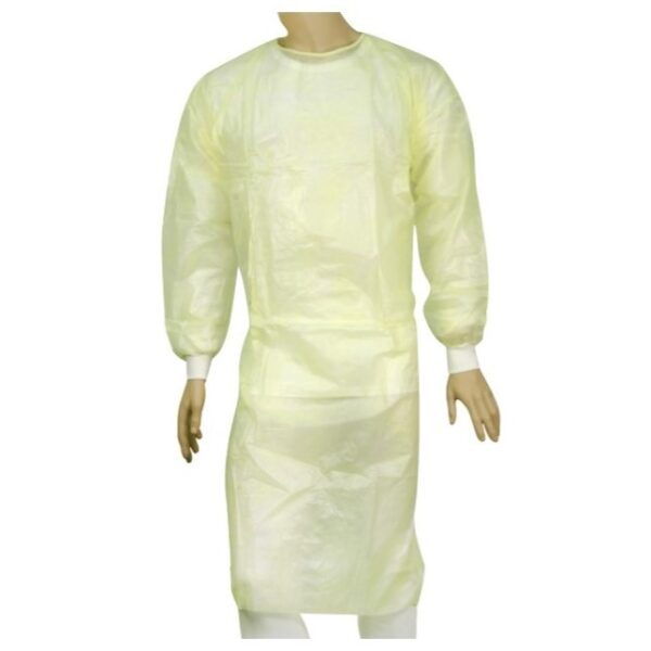 40-Gsm Yellow Iso Gown Model